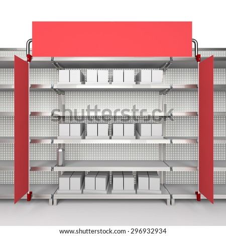 supermarket shelf with flags or shelf-stopper from front - stock photo