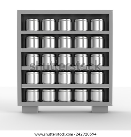supermarket shelf with metal cans from front on white