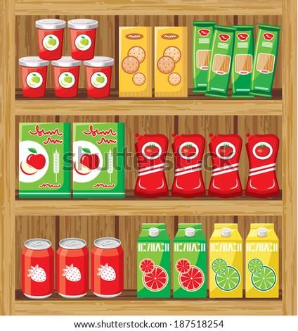 Supermarket. Shelfs with food. Raster illustration.  - stock photo
