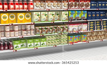 Supermarket shelves full of various products.