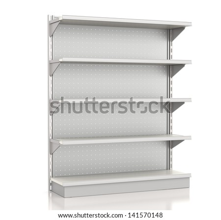 supermarket shelves render at an angle on white. 3d