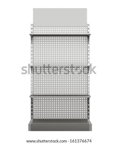 supermarket shelves render from front on white. 3d - stock photo
