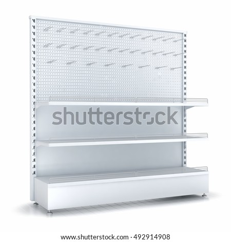 Supermarket shelves with peg on a pegboard. Retail store equipment. 3d image. Isolated on white