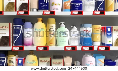 Supermarket shelves with personal care products  - stock photo