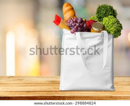 Supermarket, shop, bag. - stock photo