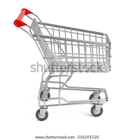 Supermarket shopping cart isolated on white - stock photo