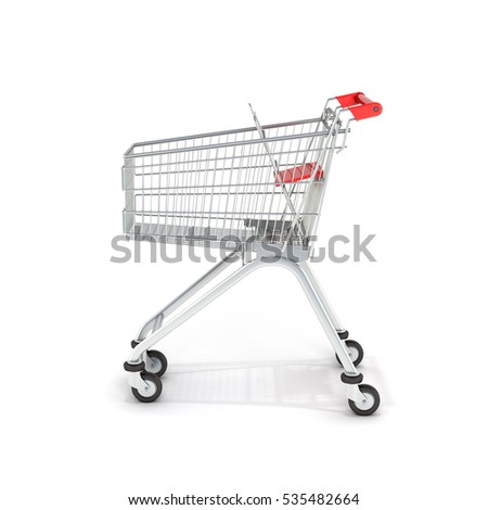 supermarket shopping cart side view on white background 3d