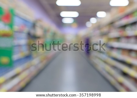 Supermarket store blur background with bokeh - stock photo