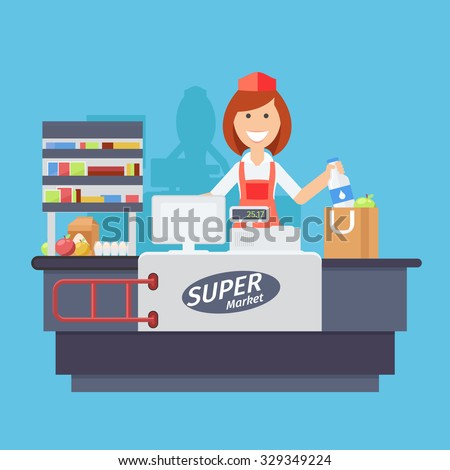 Supermarket store counter desk equipment and clerk in uniform ringing up grocery purchases. Flat style illustration isolated on white background. - stock photo