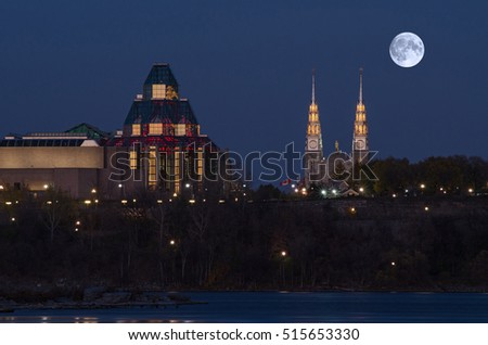 Supermoon over National Gallery of Canada and Notre Dame Cathedral in Ottawa