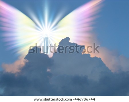 Supernatural being in sky 3D Render - stock photo