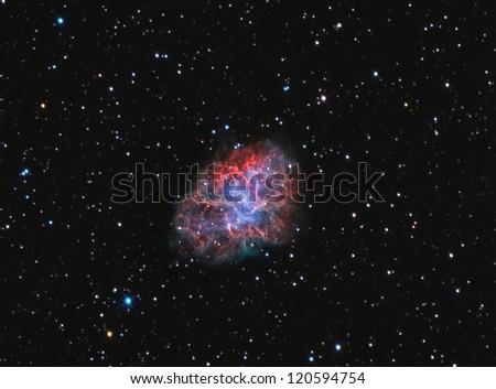 supernova remnant and pulsar wind nebula in the constellation of Taurus - stock photo