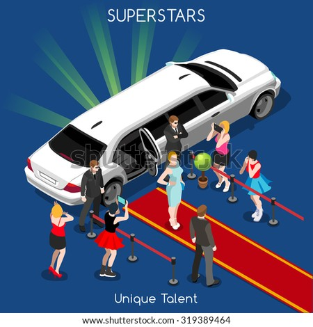 Superstar or Starlet Famous Female Young Girl with Bodyguards. Interacting People Unique Isometric Realistic Poses. NEW bright palette 3D Flat  Icon Set. Red Carpet Unique Talent Show - stock photo