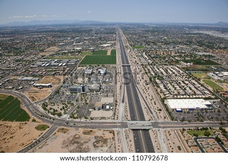 Superstition Freeway and Hospital Exit from above - stock photo