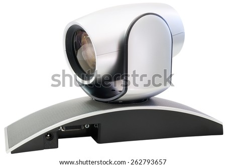 Supervision video camera isometric view isolated on the white