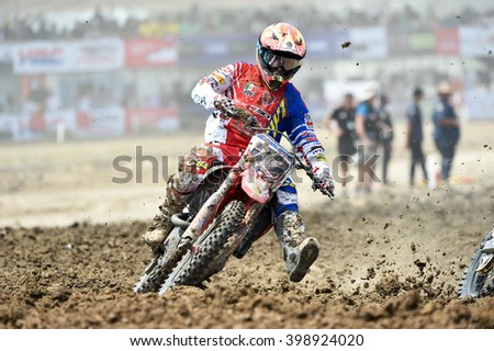 SUPHANBURI-MARCH 06:Alessandro Lupino No.77 Team Honda Red Moto in competes during  Race1 MXGP class the FIM Motocross Wolrd Championship Grand Prix of Thailand on March 06,2016 in Thailand.