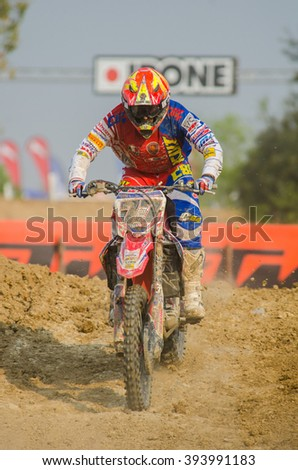 SUPHANBURI - MARCH 06 : Alessandro lupino #77 with Honda Motorcycle in competes during the FIM MXGP Motocross Wolrd Championship Grand Prix of Thailand 2016 on March 06, 2016 in Suphanburi, Thailand.