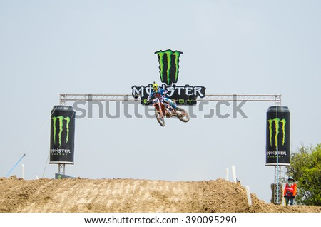 SUPHANBURI - MARCH 06 : Antonio Cairoli #92 with KTM Motorcycle in competes during the FIM MXGP Motocross Wolrd Championship Grand Prix of Thailand 2016 on March 06, 2016 in Suphanburi, Thailand. - stock photo
