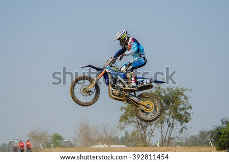 SUPHANBURI - MARCH 06 : Ben HallGren #28 with Yamaha Motorcycle in competes during the FIM MXGP Motocross Wolrd Championship Grand Prix of Thailand 2016 on March 06, 2016 in Suphanburi, Thailand. - stock photo
