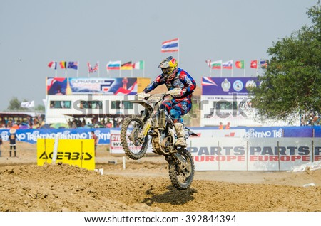 SUPHANBURI - MARCH 06 : Ben Watsun #919 with husqvarna Motorcycle in competes during the FIM MXGP Motocross Wolrd Championship Grand Prix of Thailand 2016 on March 06, 2016 in Suphanburi, Thailand. - stock photo