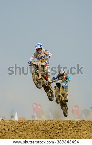 SUPHANBURI - MARCH 06 : Brian Bogers #189 with KTM Motorcycle in competes during the FIM MXGP Motocross Wolrd Championship Grand Prix of Thailand 2016 on March 06, 2016 in Suphanburi, Thailand. - stock photo