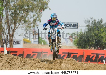 SUPHANBURI - MARCH 06 : Chaiyan Romphan #131 with Yamaha Motorcycle in competes during the FIM MXGP Motocross Wolrd Championship Grand Prix of Thailand 2016 on March 06, 2016 in Suphanburi, Thailand. - stock photo