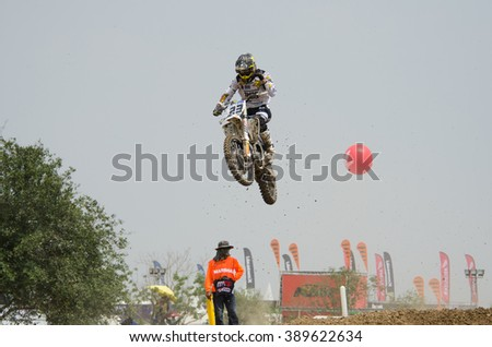 SUPHANBURI - MARCH 06 : Charlier Christophe #23 with Husqvarna Motorcycle in competes during the FIM MXGP Motocross Wolrd Championship Grand Prix on March 06, 2016 in Suphanburi, Thailand. - stock photo