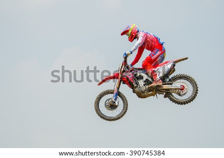 SUPHANBURI - MARCH 06 : Evgeny Bobryshev #777 with Honda Motorcycle in competes during the FIM MXGP Motocross Wolrd Championship Grand Prix of Thailand 2016 on March 06, 2016 in Suphanburi, Thailand. - stock photo