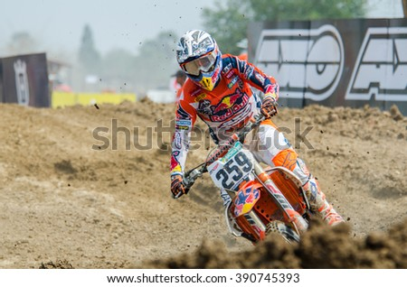 SUPHANBURI - MARCH 06 : Glenn Coldenhoff #259 with KTM Motorcycle in competes during the FIM MXGP Motocross Wolrd Championship Grand Prix of Thailand 2016 on March 06, 2016 in Suphanburi, Thailand.