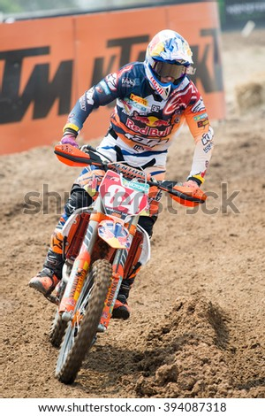 SUPHANBURI-MARCH05:Jeffrey Herlings No.84 Team Red Bull KTM Racing in competes during Qualifying Race MX2 class the FIM Motocross Wolrd Championship Grand Prix of Thailand on March05,2016 in Thailand.
