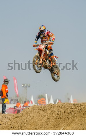 SUPHANBURI - MARCH 06 : Jeffrey Herlings #84 with KTM Motorcycle in competes during the FIM MXGP Motocross Wolrd Championship Grand Prix of Thailand 2016 on March 06, 2016 in Suphanburi, Thailand. - stock photo
