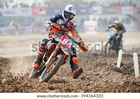 SUPHANBURI-MARCH05:Jeffrey HerlingsTeam Red Bull KTM Factory Racing  in competes during Qualifying Race MX2class the FIM Motocross Wolrd Championship Grand Prix of Thailand on March05,2016in Thailand. - stock photo
