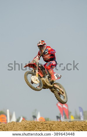 SUPHANBURI - MARCH 06 : Jorge Zaragoza #101 with Honda Motorcycle in competes during the FIM MXGP Motocross Wolrd Championship Grand Prix of Thailand 2016 on March 06, 2016 in Suphanburi, Thailand. - stock photo
