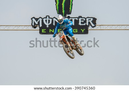 SUPHANBURI - MARCH 06 : Jose Butron #17 with KTM Motorcycle in competes during the FIM MXGP Motocross Wolrd Championship Grand Prix of Thailand 2016 on March 06, 2016 in Suphanburi, Thailand. - stock photo