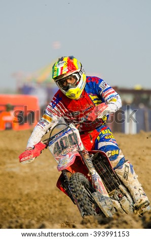 SUPHANBURI - MARCH 06 : Kei Yamamoto #400 with Honda Motorcycle in competes during the FIM MXGP Motocross Wolrd Championship Grand Prix of Thailand 2016 on March 06, 2016 in Suphanburi, Thailand.