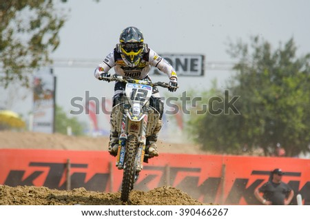 SUPHANBURI - MARCH 06: Maximilian Nagl #12 with Husqvarna Motorcycle in competes during the FIM MXGP Motocross Wolrd Championship Grand Prix of Thailand 2016 on March 06, 2016 in Suphanburi, Thailand.