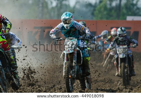 SUPHANBURI - MARCH 06 : Maykal Grisha Ivanov #97 with KTM Motorcycle in competes during the FIM MXGP Motocross Wolrd Championship Grand Prix of Thailand 2016 on March 06, 2016 in Suphanburi, Thailand. - stock photo