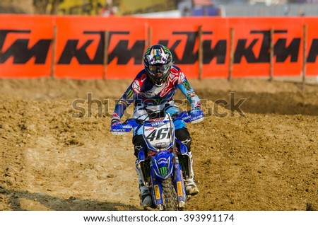 SUPHANBURI - MARCH 06 : Romain Febvre #461 with Yamaha Motorcycle in competes during the FIM MXGP Motocross Wolrd Championship Grand Prix of Thailand 2016 on March 06, 2016 in Suphanburi, Thailand. - stock photo