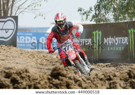 SUPHANBURI - MARCH 06 : Thanarat Penjan #171 with Honda Motorcycle in competes during the FIM MXGP Motocross Wolrd Championship Grand Prix of Thailand 2016 on March 06, 2016 in Suphanburi, Thailand. - stock photo
