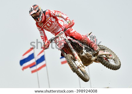 SUPHANBURI-MARCH 06:Tim Gajser No.243 Team Honda Garibodi in competes during  Race1 MXGP class the FIM Motocross Wolrd Championship Grand Prix of Thailand on March 06,2016 in Thailand. - stock photo
