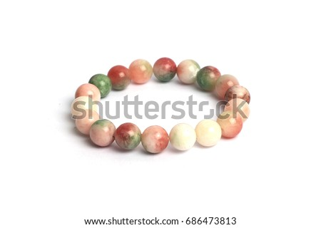 supplement a good fortune and opulence by Thee colorful jade  bracelet amulet , Fu Lu Shou luck jade lucky Stone  bracelet amulet from Myanmar with white isolated background