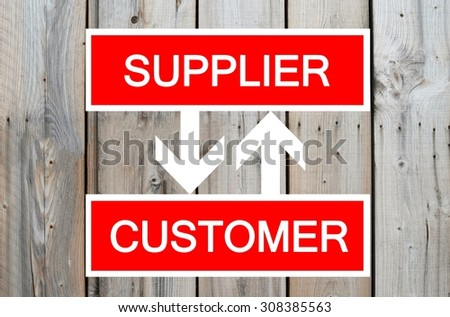 Supplier and customer cycle illustration on wooden background