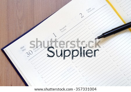 Supplier text concept write on notebook with pen