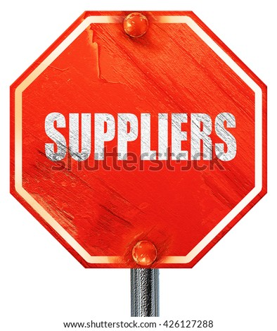 suppliers, 3D rendering, a red stop sign - stock photo