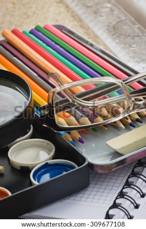 supplies for classes in drawing at school