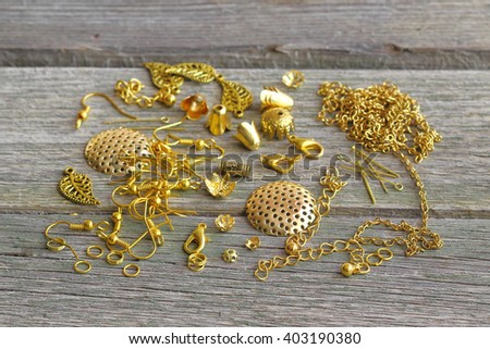 Supplies for jewelry of gold. Accessories for the manufacture of jewelry. - stock photo
