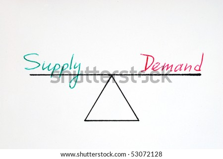 Supply and demand at the equilibrium state - stock photo