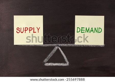 Supply and Demand Balance concept on blackboard. - stock photo