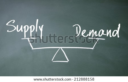 supply and demand balance sign - stock photo
