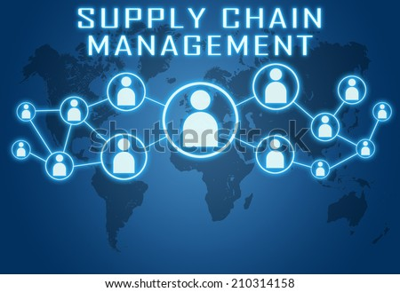 Supply Chain Management concept on blue background with world map and social icons. - stock photo